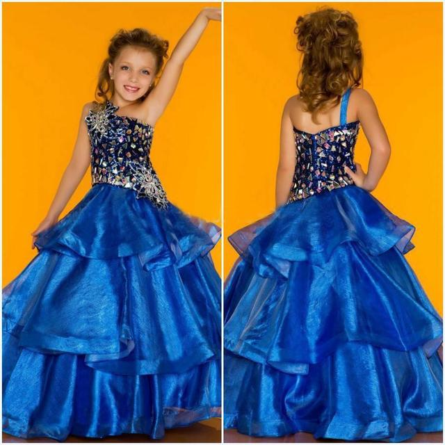 91e3f13ee70 2017 New Ball Gown One shoulder Floor length Crystal Applique Beaded Tiered  Organza Flower Girl Dresses children dress up costum