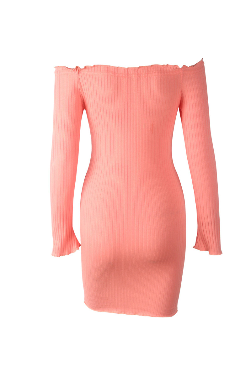 Sexy Slim Dress Women Autumn Solid Color Off Shoulder Long Sleeve Sexy Slash Neck Bodycon Dresses Mini Party Dress Vestidos - dresses