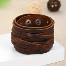 цена на Punk style black/brown genuine leather bracelet cuff bracelets & bangles adjustable fashion women men bracelets jewelry J35