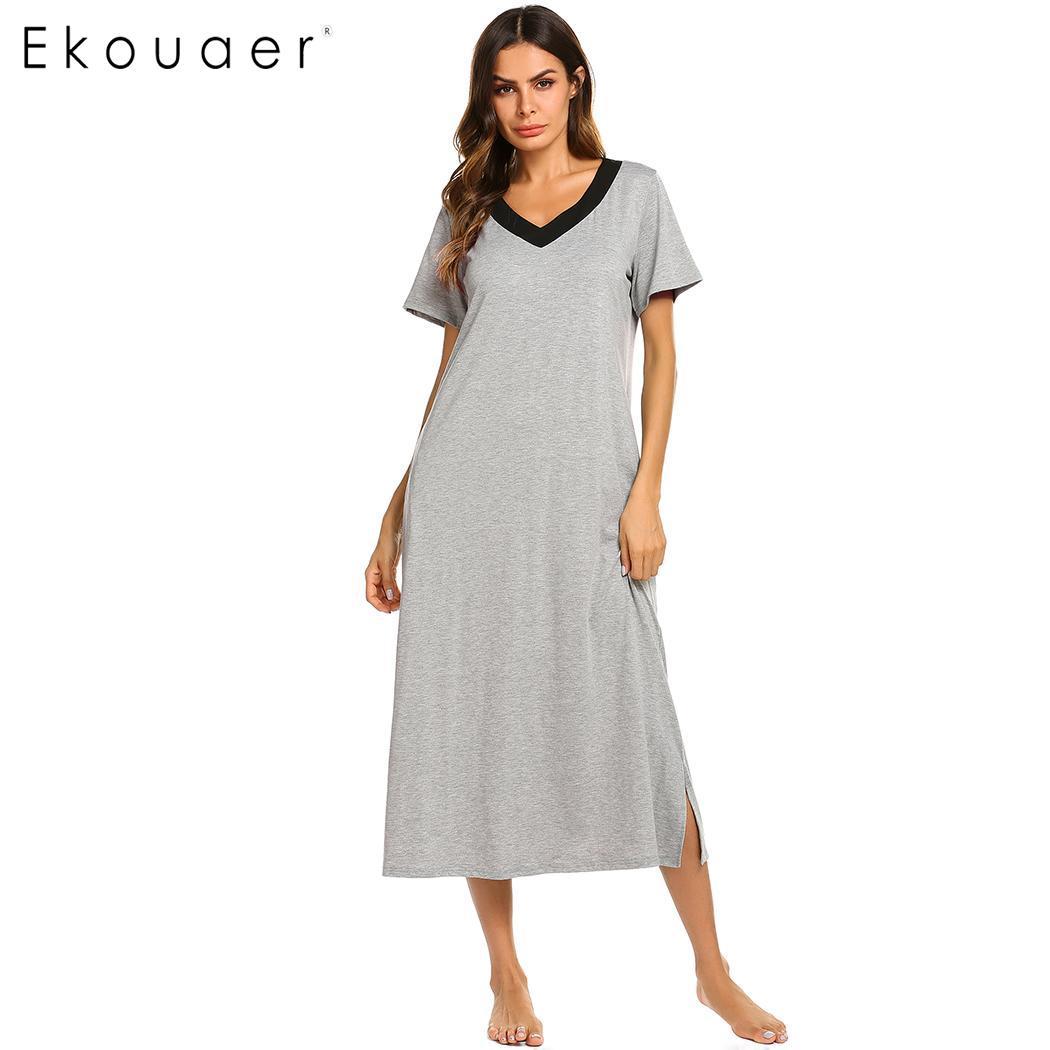 4967c0093 Ekouaer Sleepwear Vestido Longo Das Mulheres da Camisola de Decote Em V  Manga Curta Patchwork Meados de Bezerro Vestido Sono Nighty Feminino  Camisola