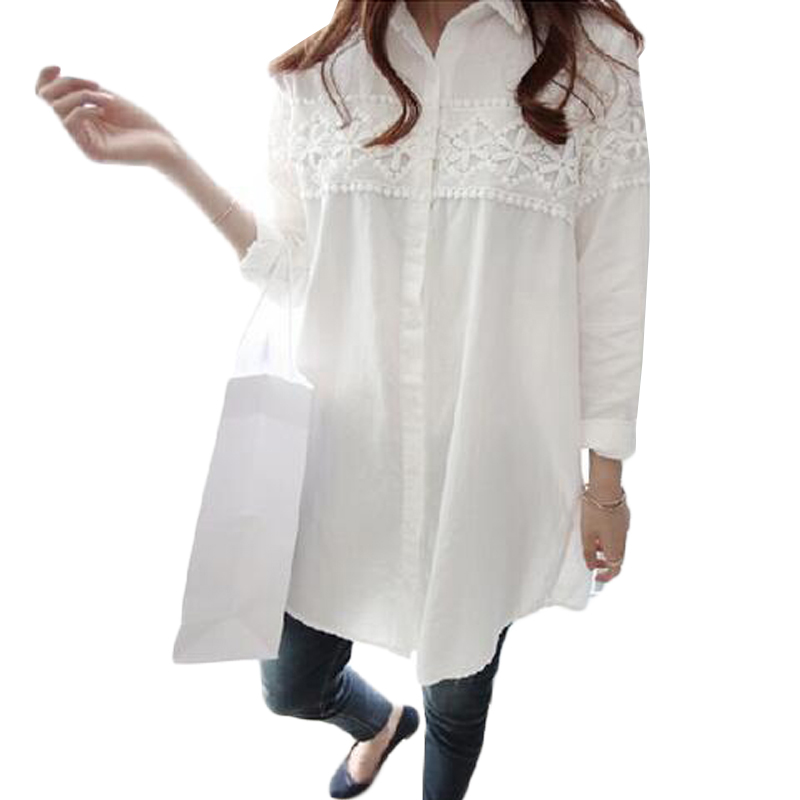 2017 New Autumn White Lace Blouse Plus Size 4XL Women Tops Casual Loose Blouses Long Sleeve Vintage Ladies Shirts Blusas AB318