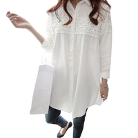 2017 New Autumn White Lace Blouse Plus Size 4XL Women Tops Casual Loose Blouses Long Sleeve