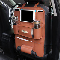 High Quality PU Leather Car Seat Back Organizer Sundries Holder Multi Pocket Travel Storage Bag Hanger