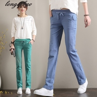 The New Large Size Women S Summer Linen Cotton Material Thin Section Loose Straight Casual Trousers