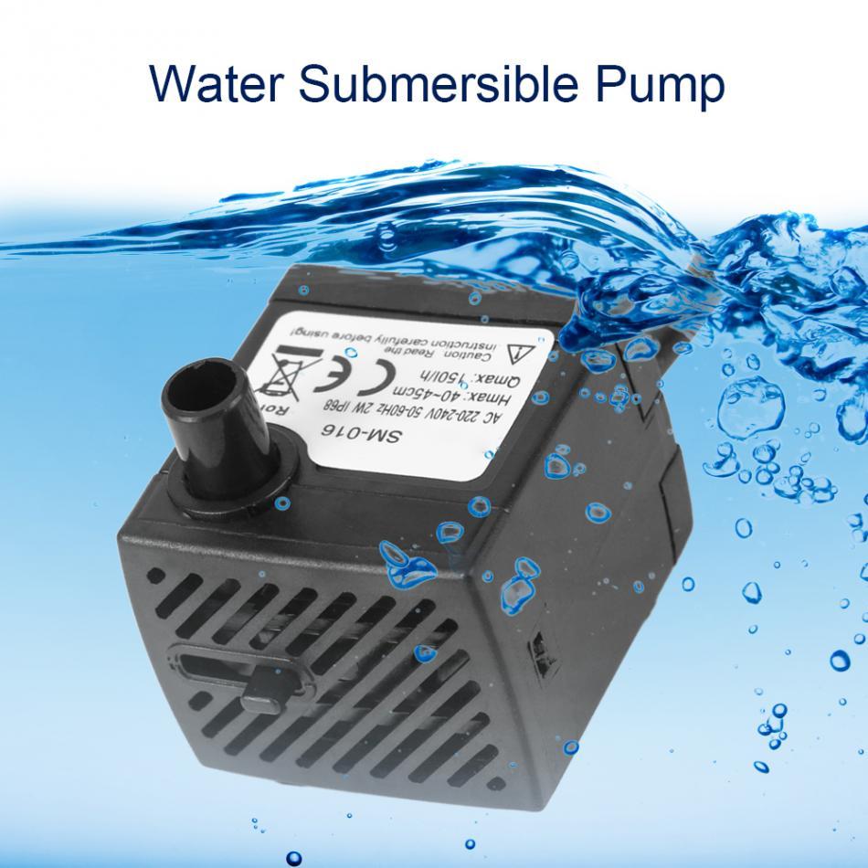 Mini Submersible Water Pump Fish Pond Aquarium Tank Fountain Ultra-Quiet 2W Low Noise Low Power Consumption Waterproof Pump