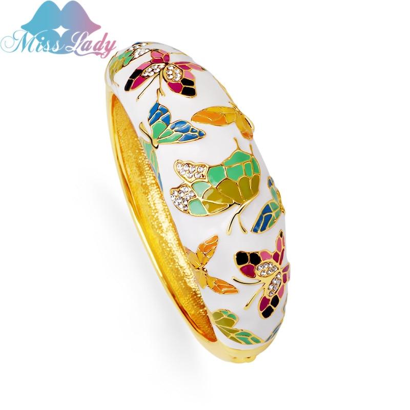 Miss Lady High Quality Charm Butterfly Enamel Bracelets & Bangles For Women Christmas Crystal Rhinestones Jewelry MLY4347