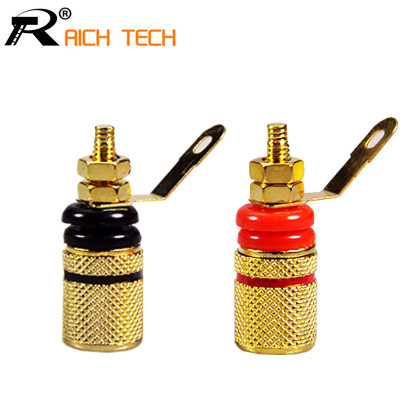 1pair Black+Red Gold-Plated Banana plugs insulation sound Terminals Anti-impact speaker terminals Banana jack socket free shipping pair 24 core pair nordost red dawn speaker audio cables diy bfa banana plugs