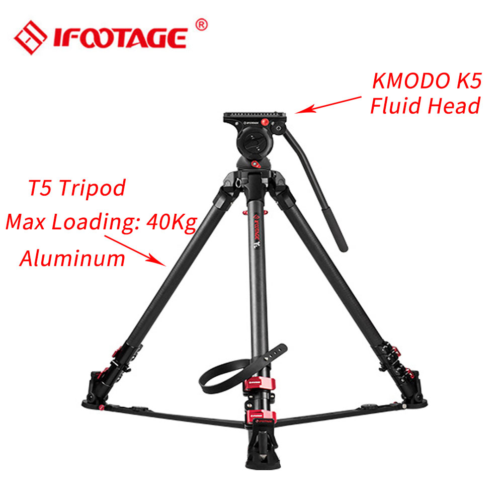 IFOOTAGE Wild Bull T5 Aluminum Legs Professional Video Camera Tripod with K5 Fluid Head for GH5