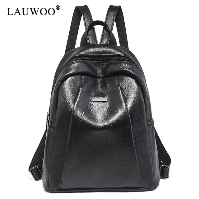 b889b23f74c0 LAUWOO New Travel Backpack Korean Women Female Rucksack Leisure Student  School bag Soft PU Leather Women Bag