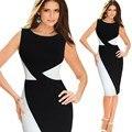 Qa224 nuevas mujeres del verano negro blanco jap irregular dobladillo de la cintura del remiendo de la envoltura sin mangas de dress