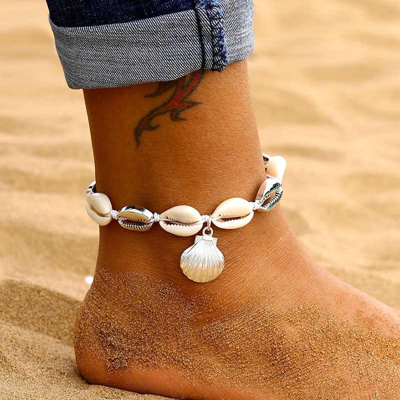 9 design do vintage prata cor multicamadas tornozeleiras para mulheres boêmio concha abacaxi folhas tornozeleira pulseira 2019 praia jóias