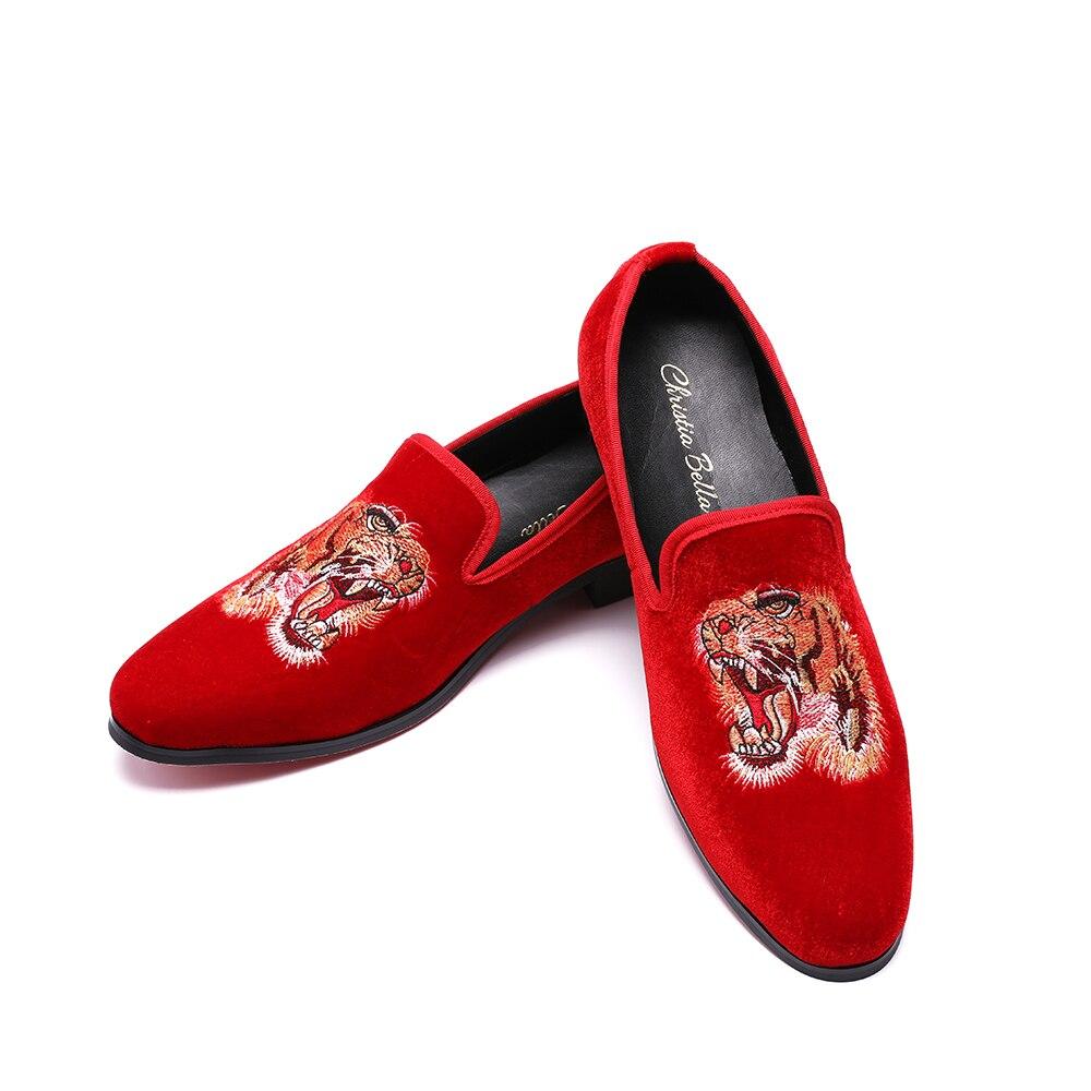 Broderie De Mocassins Partie Sur Glissement Robe Casual Hommes Mode Rouge Fumeurs Velours Appartements Christia Bal Chaussons Les Bella Chaussures qCgxwXOxE