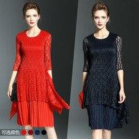 2017 Autumn New OL Style Round Neck Lace Fold Pleated Dress