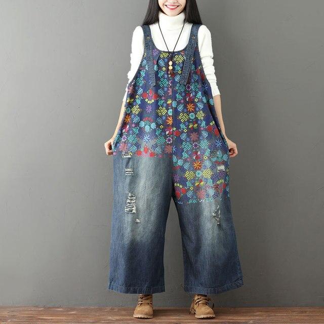 f960d21f509 Women Retro Printed Holes Ripped Jumpsuit Ladies Denim Bleached Wide Leg Overalls  Female Vintage Denim Rompers Print