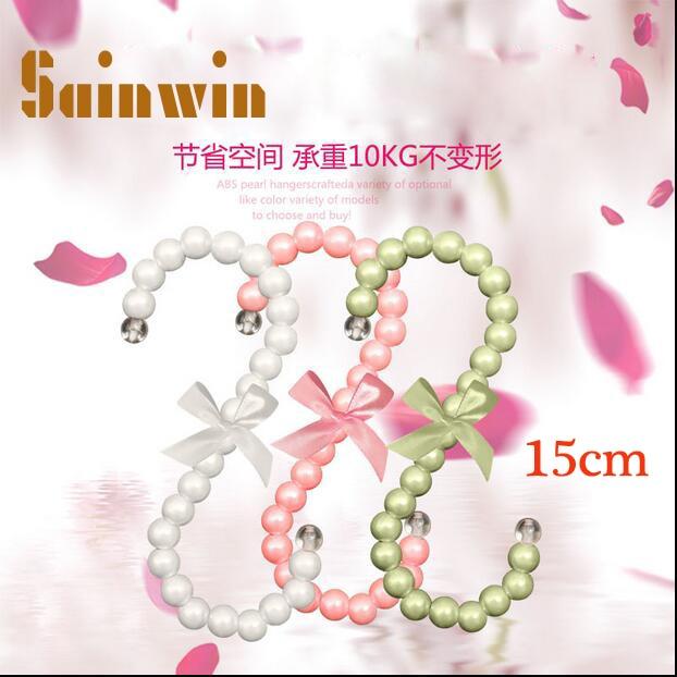 Sainwin 5 teile / los kunststoff perlenbeutel kleiderbügel 15 CM Mode frauen clips Weiß Rosa S förmigen beutel haken kleiderständer 10 farbe