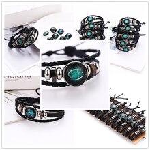 24 Style Excellent Twelve Constellation Bracelet Hand-Woven Beaded Retro Leather Beads Bangle Bracelets For Women Men Jewelry