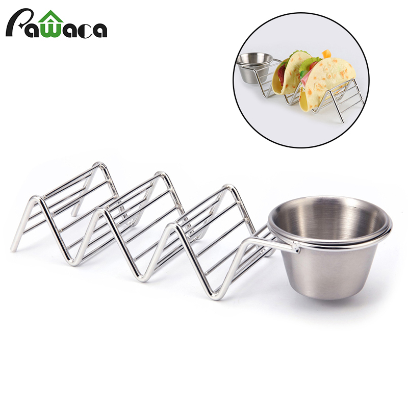 Stainless Steel Taco Holder Stand with Seasoning Cup Taco Truck Tray Rack Holds 3 Hard Shell Tacos for Baking Party Kitchen Tool image