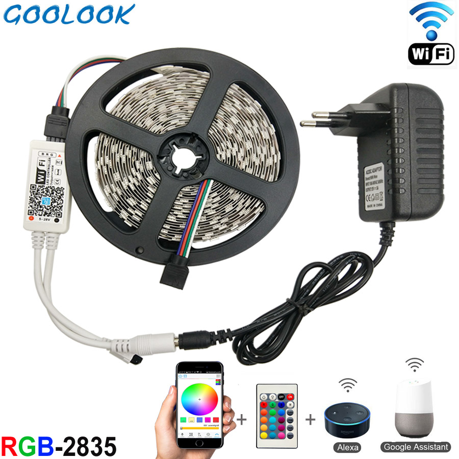 LED Strip Light SMD 2835 RGB LED Tape 5M 10M LED Flexible Strip RGB Light Ribbon 3528 Led Strip Diode DC12V+ Controller Full Set