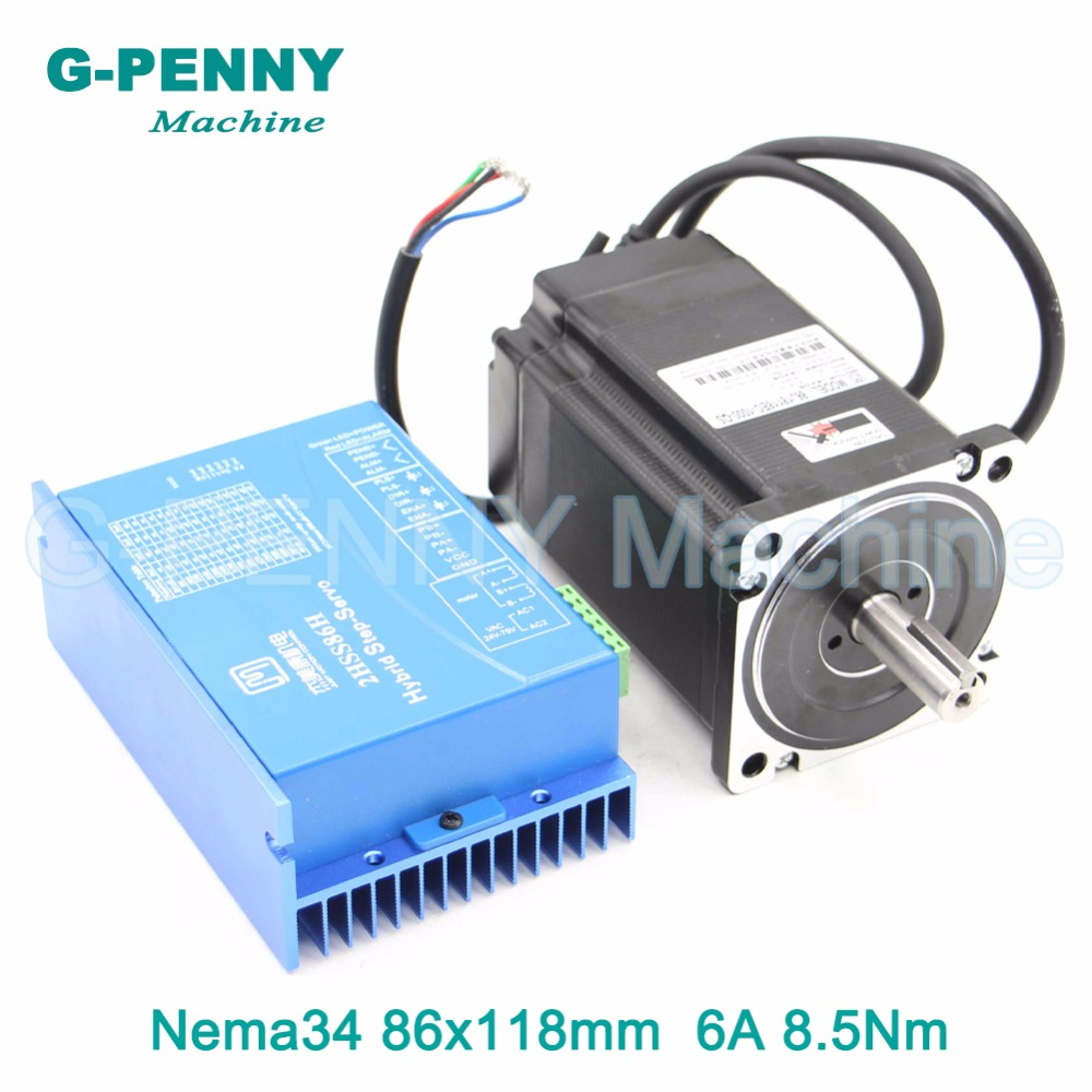 Nema34 Closed Loop Motor 8.5Nm Hybrid Stepping Motor Hybrid Motor Nema 34 6A 1200Oz-in Motor Driver DC(40-110V) / AC(60-80V)