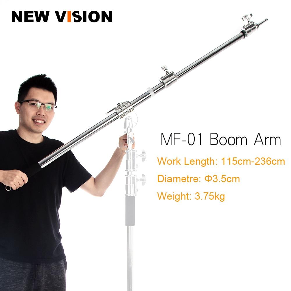 "Stainless Steel MF 01 115 236cm 45""  93"" Studio Photo Telescopic Boom Arm Top Light for Pro Studio Flash Strobe-in Photo Studio Accessories from Consumer Electronics    1"