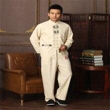 2015 Новый бежевый китайских Для мужчин кунг-фу форма из хлопка и льна тай-чи костюм Винтаж Кнопка Костюмы M, L, XL, XXL XXXL