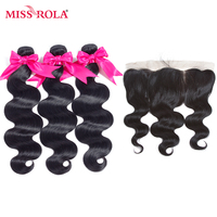 Miss Rola Hair Pre Colored Brazilian Hair 3 Bundles With Lace Frotal 13 4 Straight 100