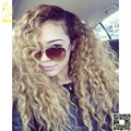 Virgin Brazilian Blonde Ombre Lace Front Human Hair Wigs Curly Glueless Full Lace Wig Two Tone Color #1b/27 with Baby Hair