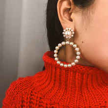 Fashion Crystal Round Pendant Earrings Simple Imitation Pearl Geometric Circle for Womens Wedding Party Ear Jewelry