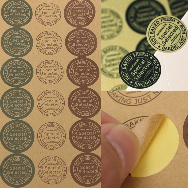 10 sheets 160 pcs retro handmade round kraft baking package paper sticker baked envelope seal labels mixed 4 colors in memo pads from office school