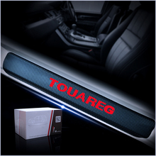 Para volkswagen vw touareg sharan adesivos de vinil fibra carbono acessórios do carro protetor do peitoril da porta placa scuff protetor do peitoril da porta