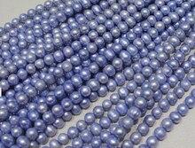 """Comercio al por mayor Real Grano de La Perla 8-9mm 15 """"Azul Claro Natural Hecho A Mano de Perlas de Agua Dulce Del Grano Flojo Envío Gratis regalo"""