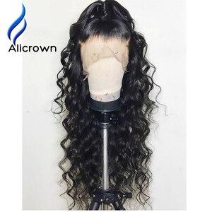 Image 3 - ALICROWN/короткие волнистые кружевные передние человеческие волосы, парики для женщин, бразильские Remy 13х4 кружевные парики с детскими волосами, предварительно выщипанные боковые части