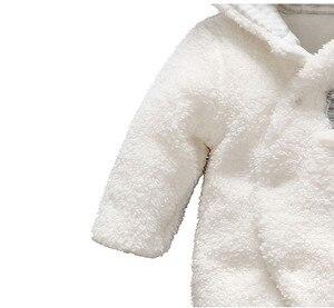 Image 3 - Мягкая одежда для новорожденных младенцев, комбинезоны с медведем для маленьких девочек и мальчиков, Плюшевый комбинезон с капюшоном, зимние комбинезоны для детей, детская одежда