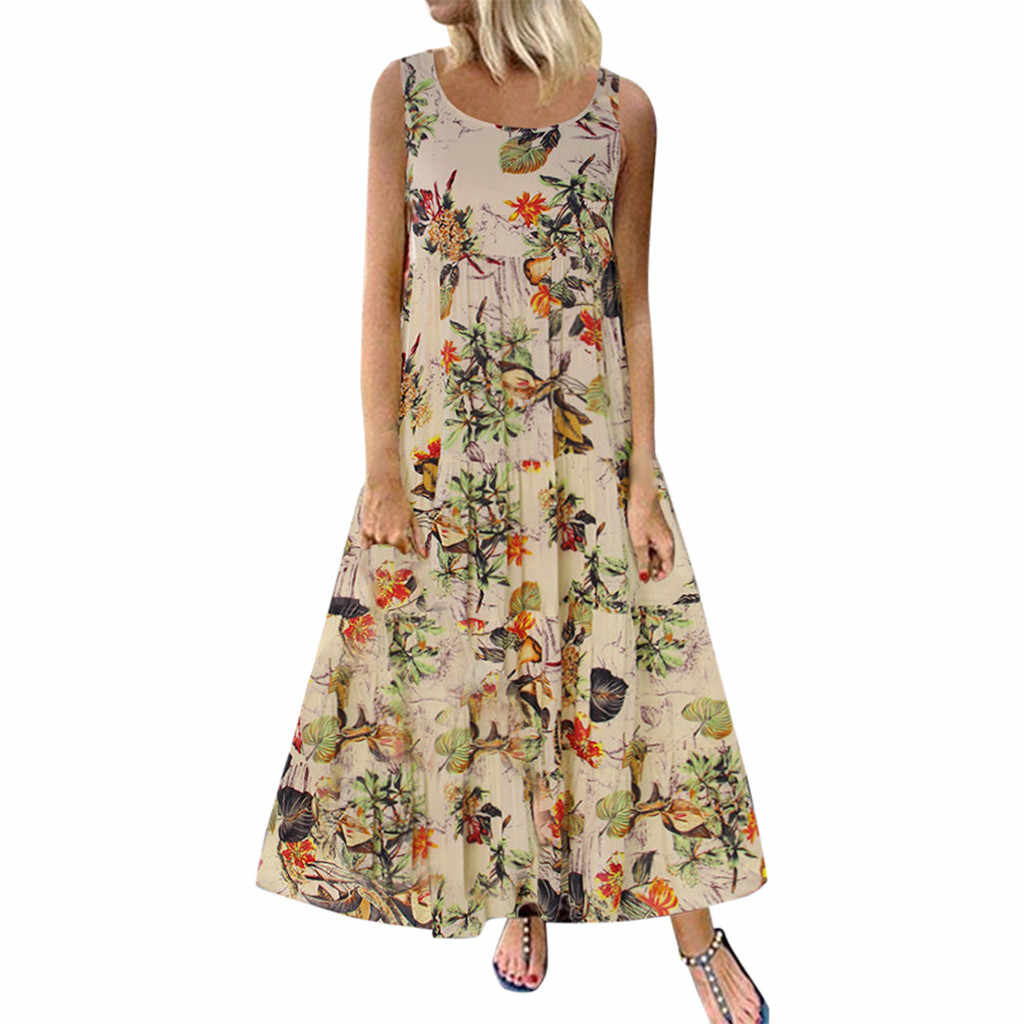 JAYCOSIN 2019 New Summer Women Dresses Sexy Plus Size Bohemian O-Neck Floral Print Vintage Sleeveless Ankle-Length Beach 9041910
