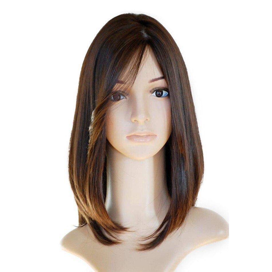 Jewish Wig European Virgin Hair Straight Human Hair Wigs 4x4 Silk Top Lace Front Wig Side Bangs Kosher Wig 130% Free Shipping