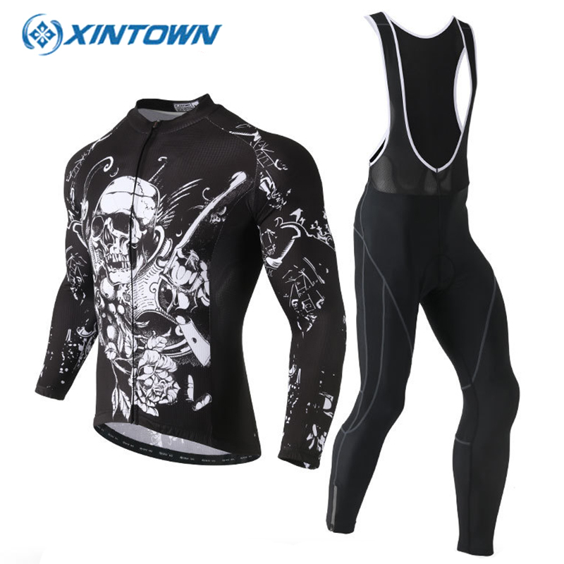 все цены на XINTOWN Spring Cycling Set Men Cycling Clothing Pro Teams Long Sleeve Cycling Jersey And Bib Shorts Set Mtb Bike Spoetswear онлайн