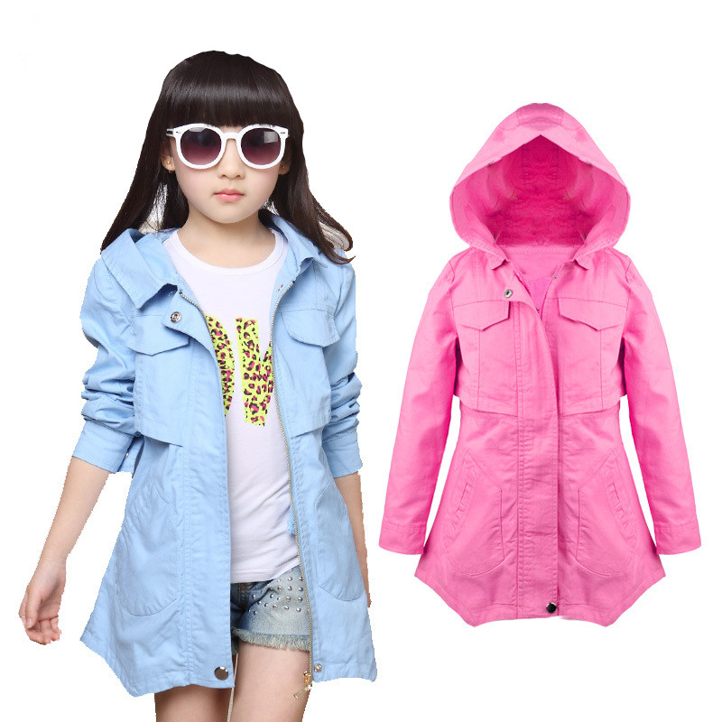 2018 new hooded auutumn girls jackets and coats zipper girls trench coat long cotton children windbreaker jackets kids outfit