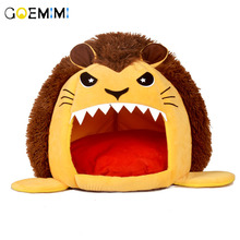 Warm Cat Cave House Pet Bed Lion Shape Dog Cushion Padded Mat Chihuahua Kennel