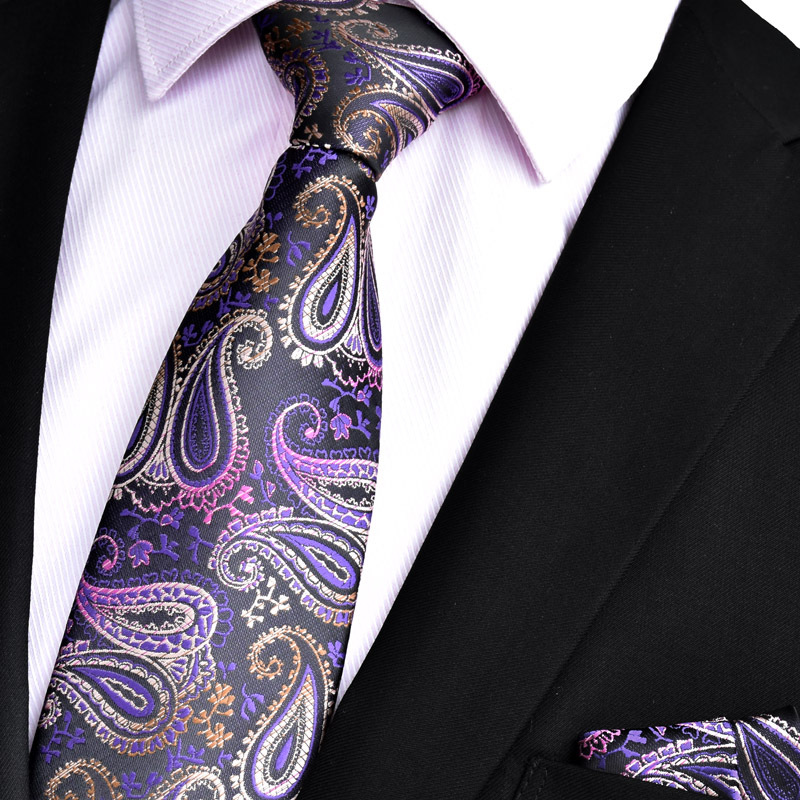 (50 Pcs/Lot) Wholesale Mens Silk Neckties Set (Neck Tie & Handkerchief) Classic Men's Wedding Party Pocket Square Ties