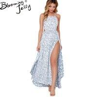 Seksi Kayış Baskı Kolsuz Uzun Elbise Mavi Pembe Yan Bölünmüş Backless Vardiya Plaj Düğün Maxi Elbise Parti Bohemian Yaz Elbise