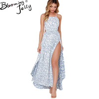 Blooming Jelly Sexy Strap Print Sleeveless Dress Side Split Backless Shift Beach Maxi Dress Summer Women