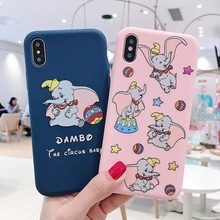 Cute Dumbo Matte Silicone Phone Cases for iPhone X XS 7 8 Plus Cartoon Elephant Soft Covers XR MAX 6 6S Funda