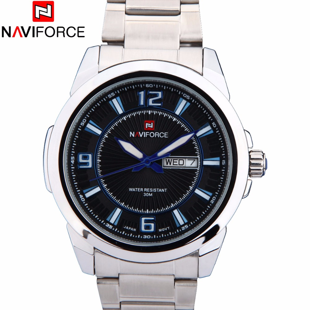 NAVIFORCE Men s Stainless Steel Quartz Watch Men 30M Wateroof Military Sport Watches Male Auto Week