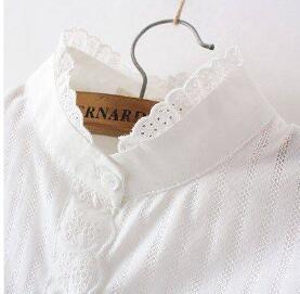De 2019 Montant Base Longues 3 Blouses 2 Col Chemises À Laciness Manches Couleur Ressort 1 Blanc Tout Mince Coton Femmes Casual allumette Chemise qzrpIwzf