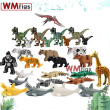 Crocodile Black Panther Shark Cow Zoo Thestral Elk Dino Animals Dinosaur Brick Kit Building Blocks Model Toys for Children Gift(China)
