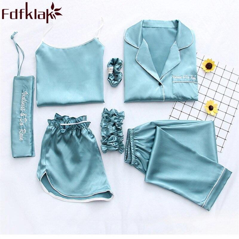 Fdfklak Home Clothes Sexy Pijama 7 Pieces Silk Pajamas For Women Night Suit Sleepwear Sets Pyjamas Women Spring Summer Q1047