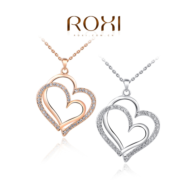 b050348a63 ROXI Hot Rose Gold Color Double Heart Necklaces Pendants Elegant Crystals  Zirconia Necklace for Women Jewelry Valentine' Gifts