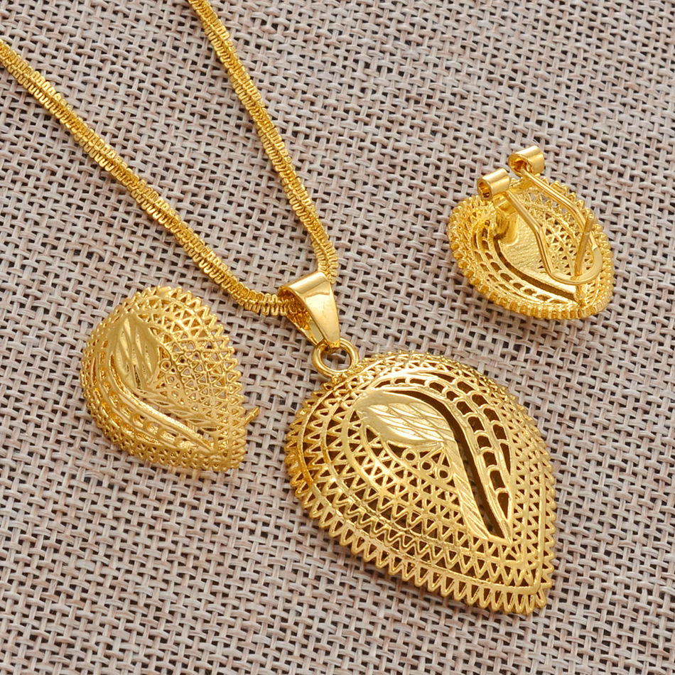 Jewelry-Sets Necklaces-Earrings Ethiopian-Pendant Dubai Arab Kenya Sudan Gold-Color Nigeria