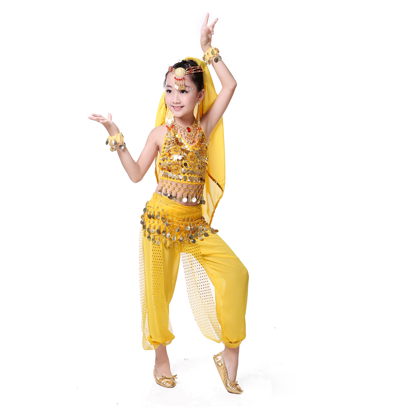 Cheap Sexy Indian Belly Dance Costume For Girls Red Yellow Rose Topspants 2 Pcs -9700