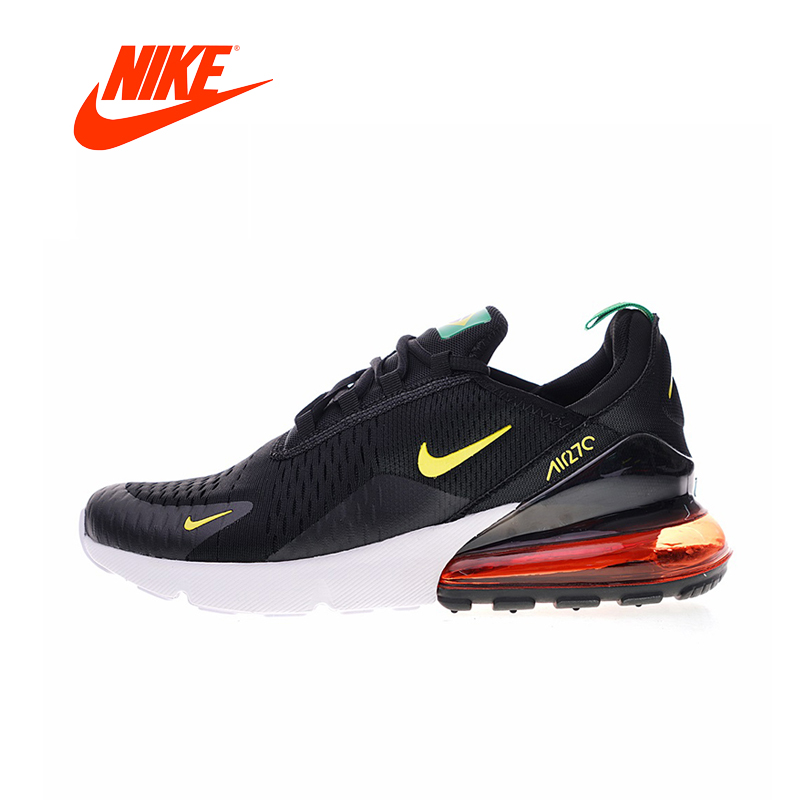 Nike Air Max 270 Men's Running Shoes Black & Yellow/Red Shock Absorbing Breathable Lightweight AH8050 nike air max 270 men s running shoes black